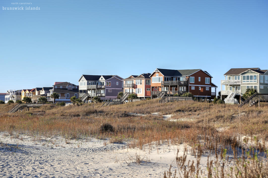 View Of Beach Houses At Holden Beach, NC
