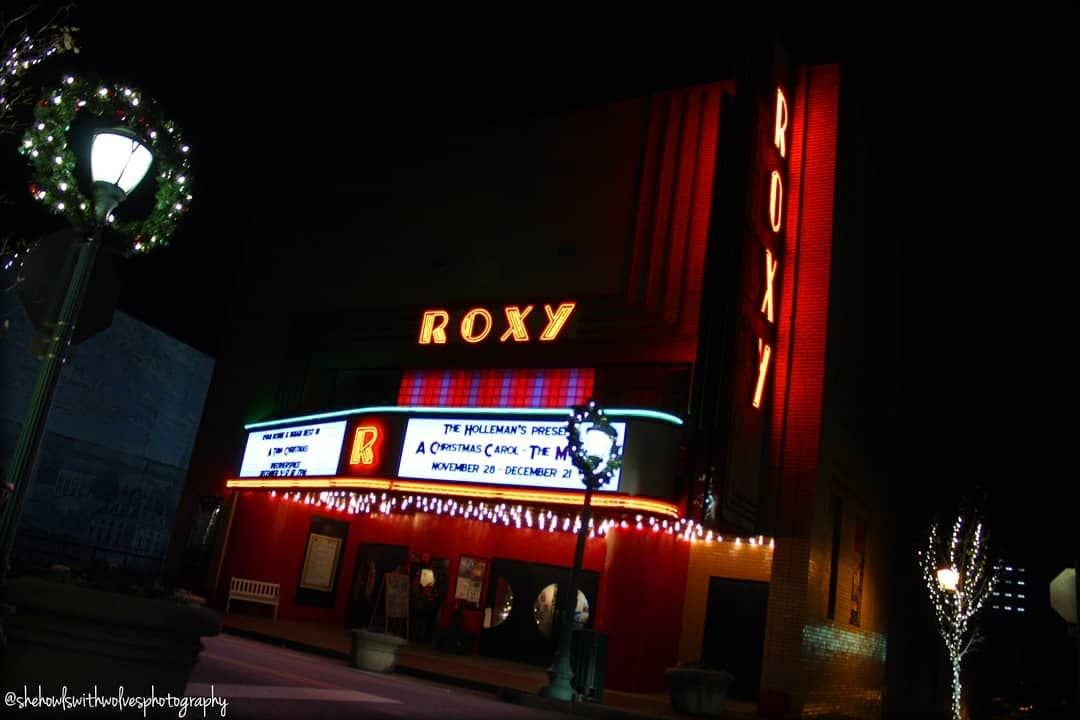 Roxy Theatre with Christmas lights