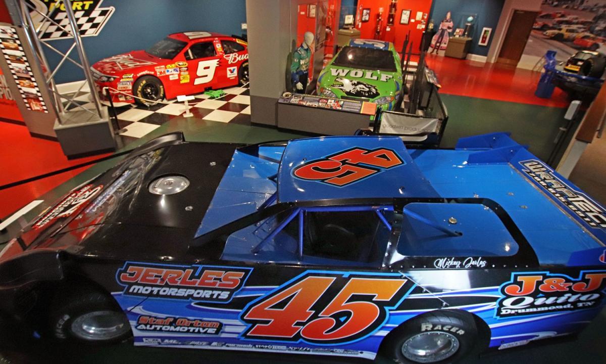racing cards on display