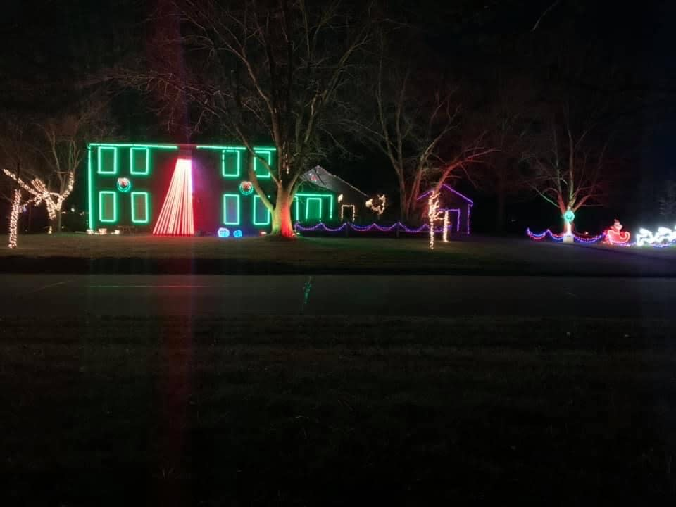 Christmas Light Display at 5617 SHERINGTON RD. in Fort Wayne, Indiana