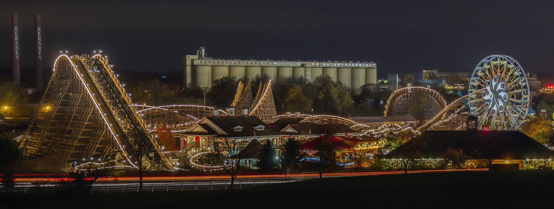 Hershey carnival with lights at night