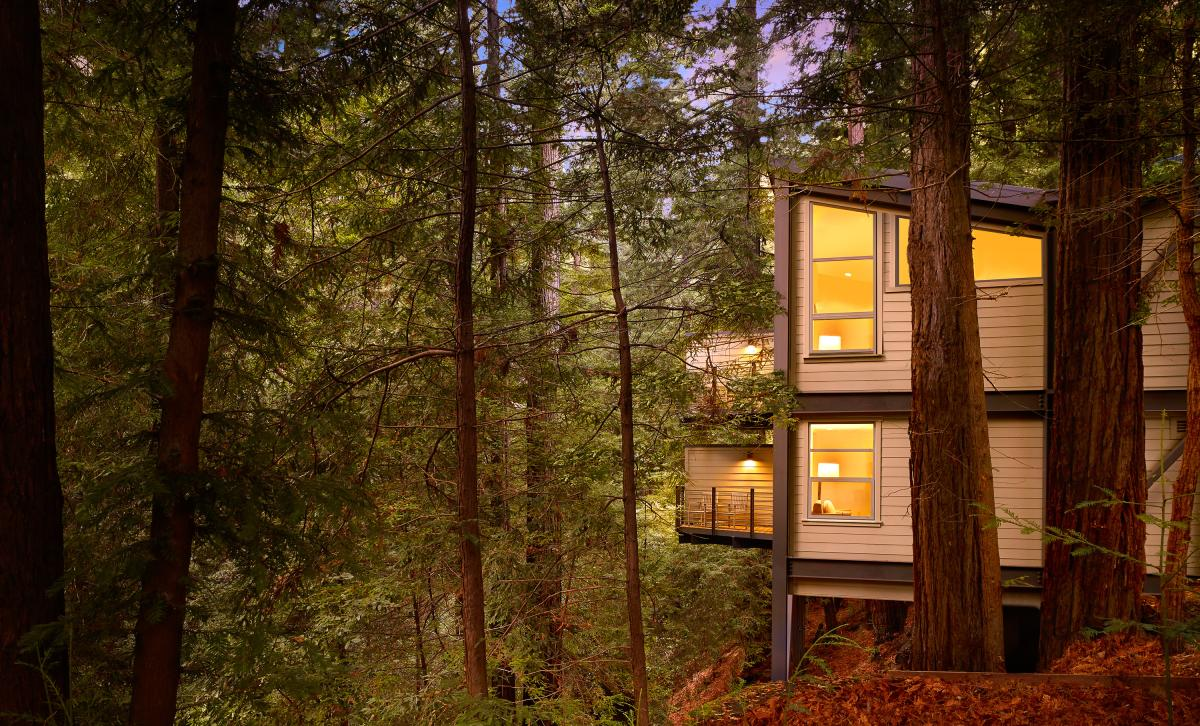 Tree house rooms at the Canyon Ranch Wellness Retreat in Woodside, CA