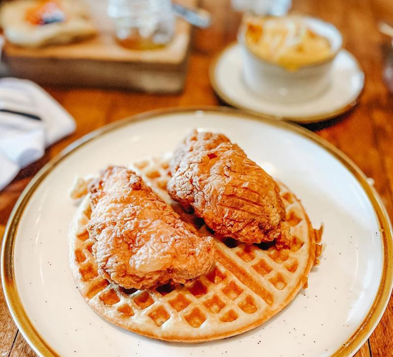 plate of chicken & waffles