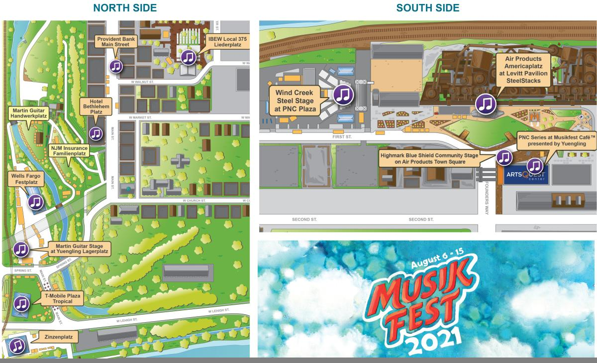 A Map of Musikfest 2021 locations