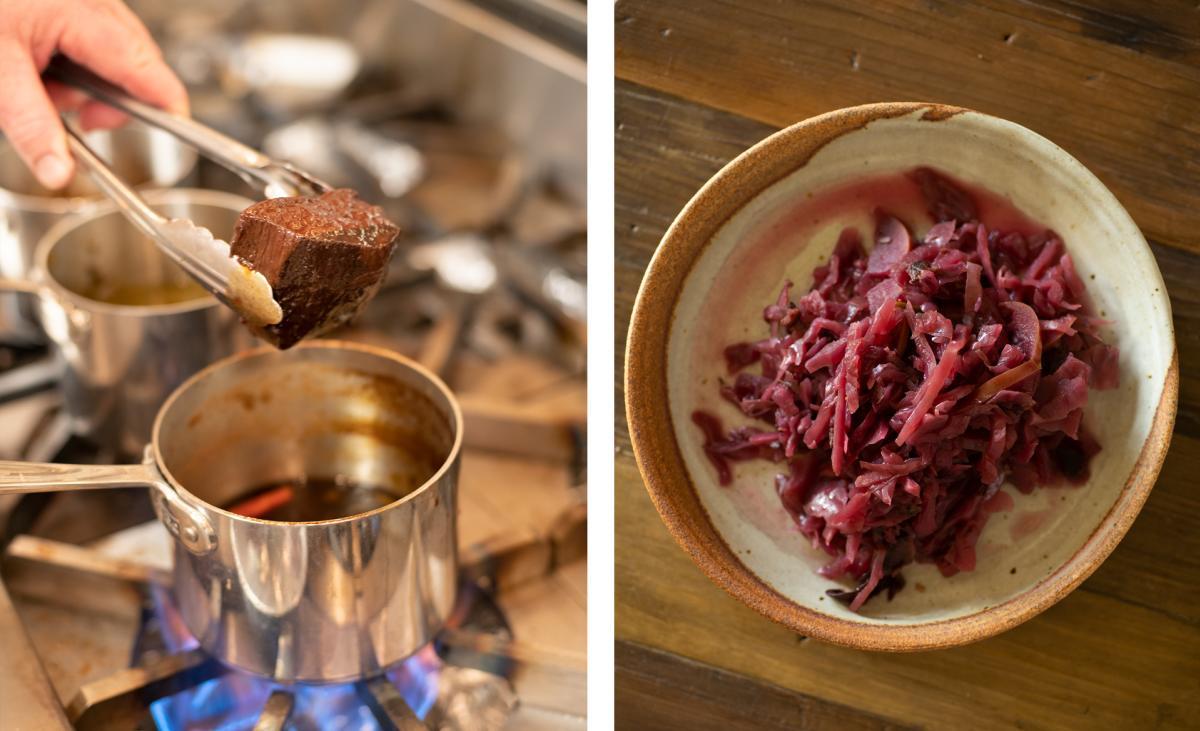 SkyFire Restaurant at Bishop's Lodge, Venison Steak & Red Cabbage Slaw