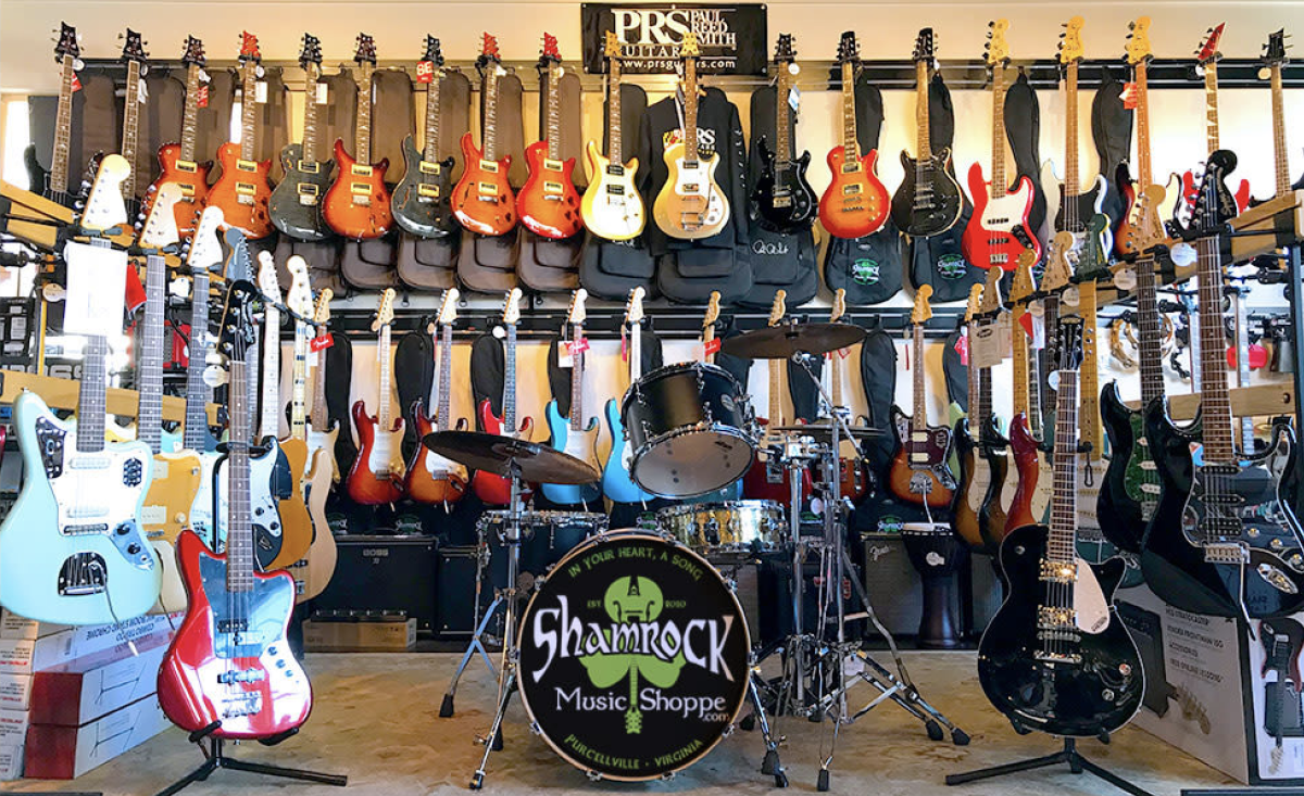 Room full of guitars at the Shamrock Music Shoppein Purcellville