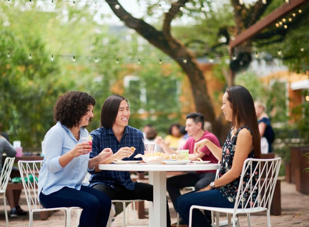friends dining on the patio at Fresas in south austin texas