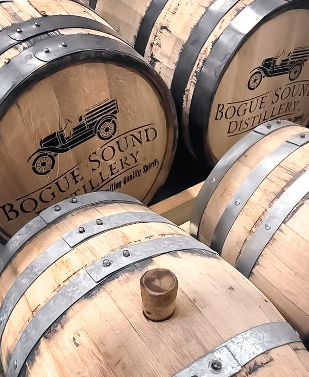 Barrels from the Bogue Sound Distillery on the Crystal Coast