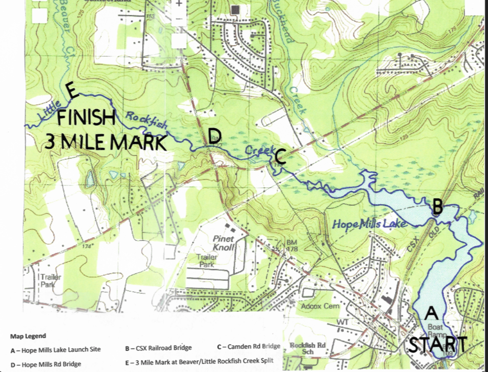 Hope Mills Lake Map for Challenge