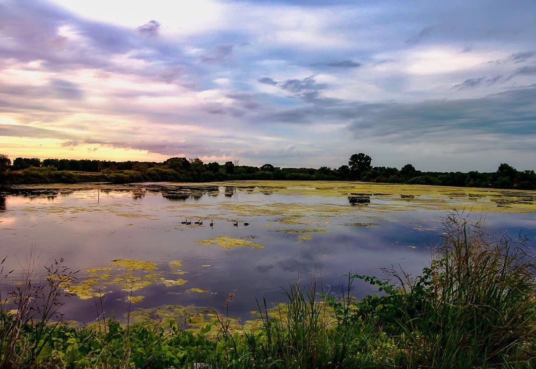 Sunset over the water at Shiawassee National Wildlife Refuge