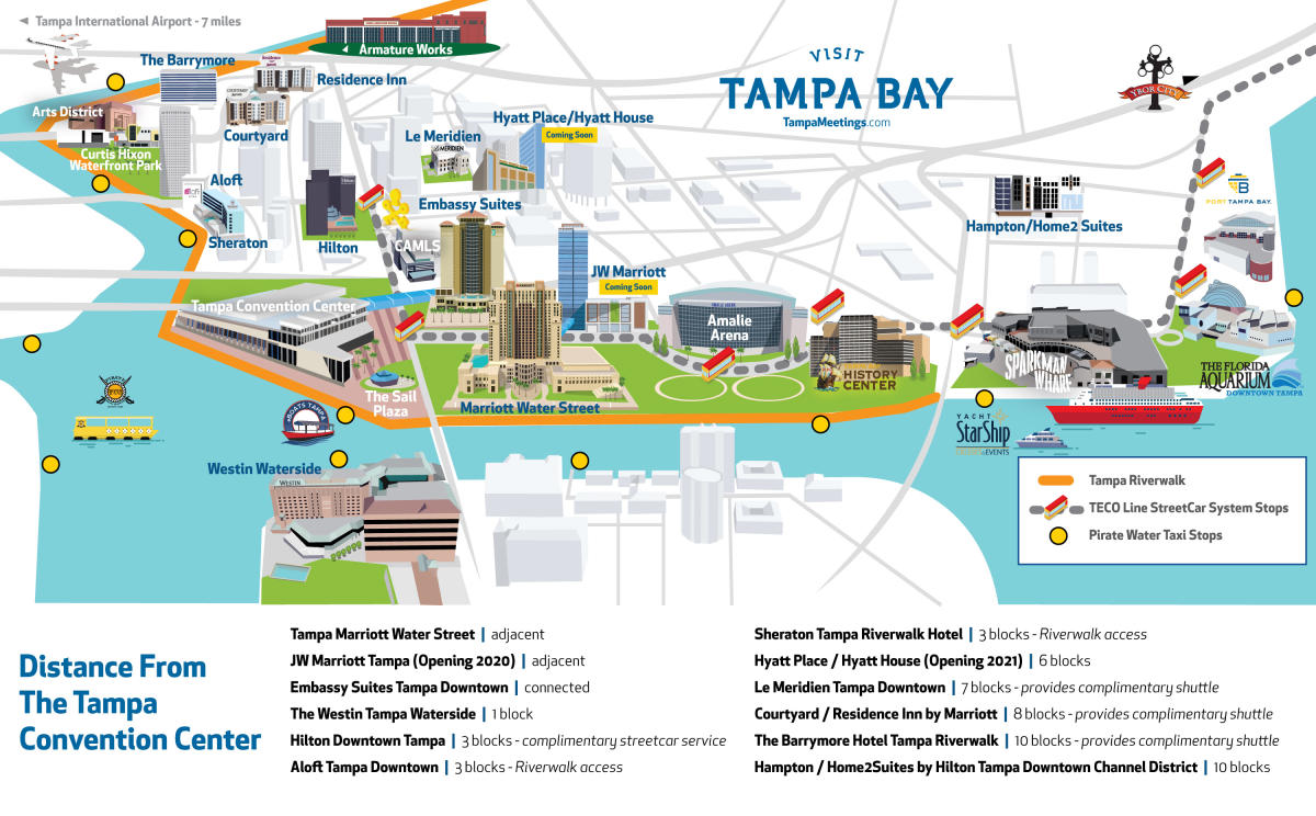 Tampa Convention Center distance map