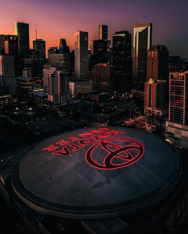 An aerial image of downtown Houston overlooking the Toyota Center.