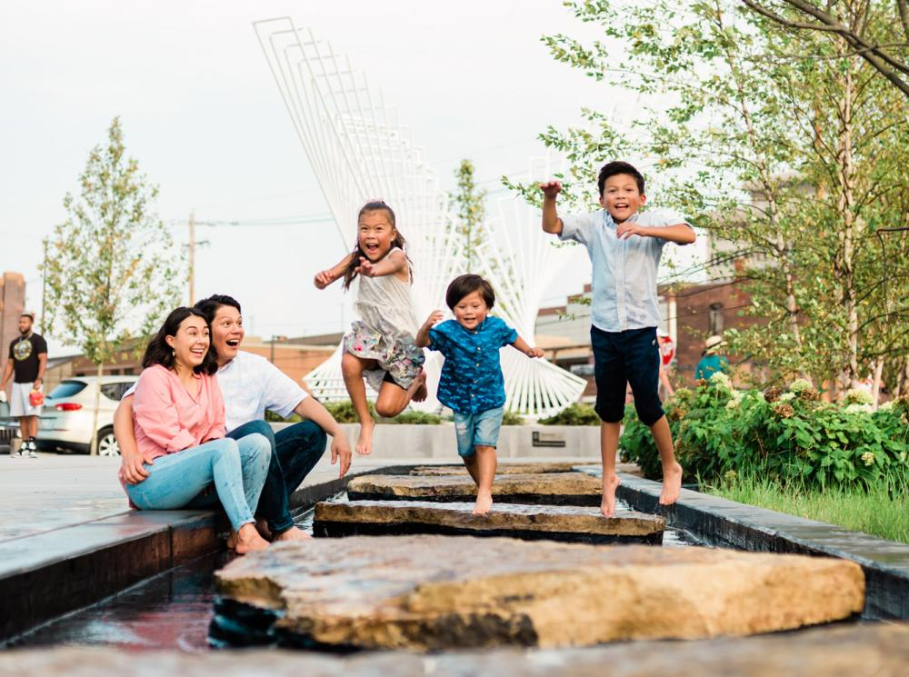 Family enjoying the Kids' Canal at Promenade Park in Downtown Fort Wayne