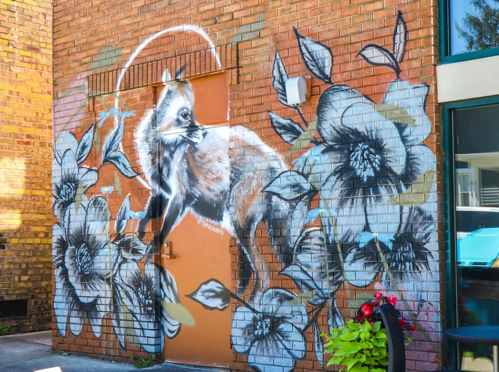 Fox mural on the side of the Friendly Fox restaurant