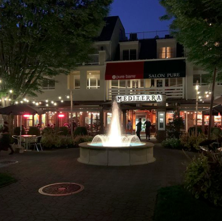 Outdoor view at night of Mediterra Restaurant in Mercer County