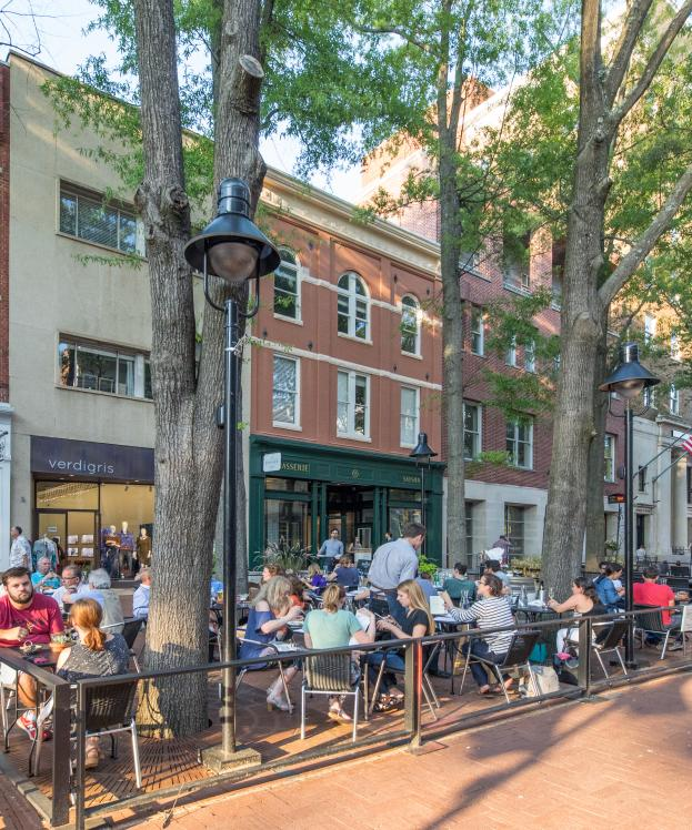 Dining outside on the Downtown Mall at Brasserie Saison