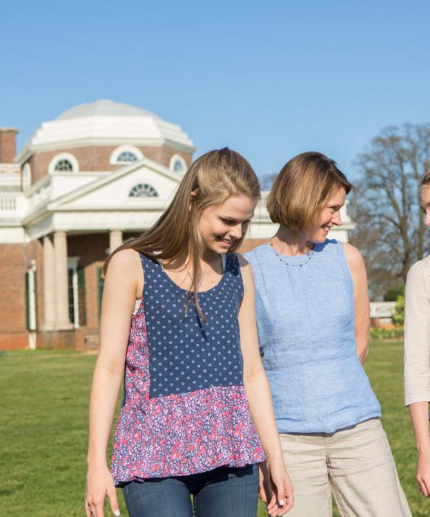 Family walking outside of Monticello
