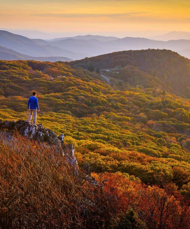 Hiker in Mountains - Fall