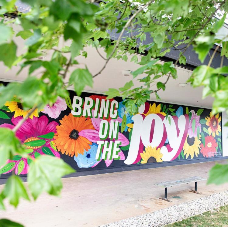 """Bring on the Joy"" Mural in Princeton, NJ."