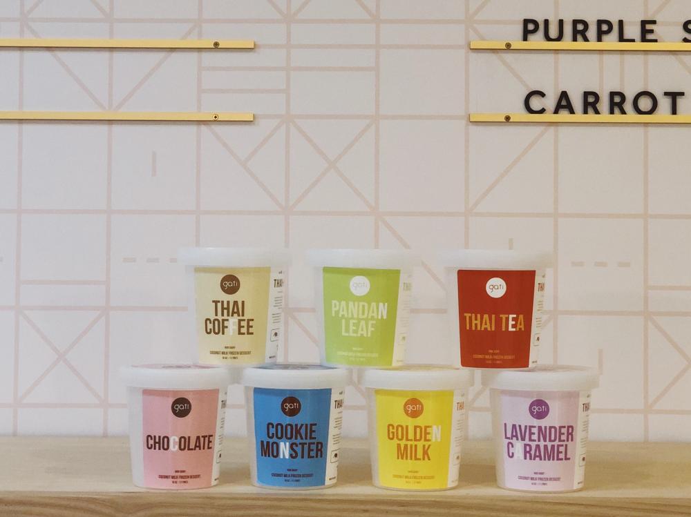 Seven different pints of Gati ice cream