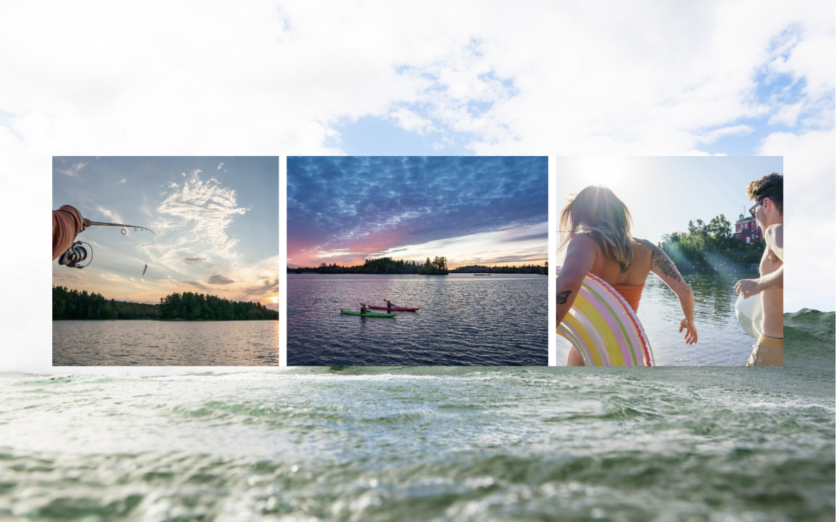 A collage of ways to explore the water - kayak, fish, surf, and splash.