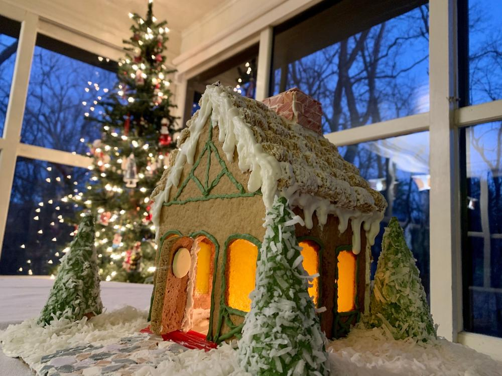 A gingerbread replica of Pinecrest B&B in Asheville, NC