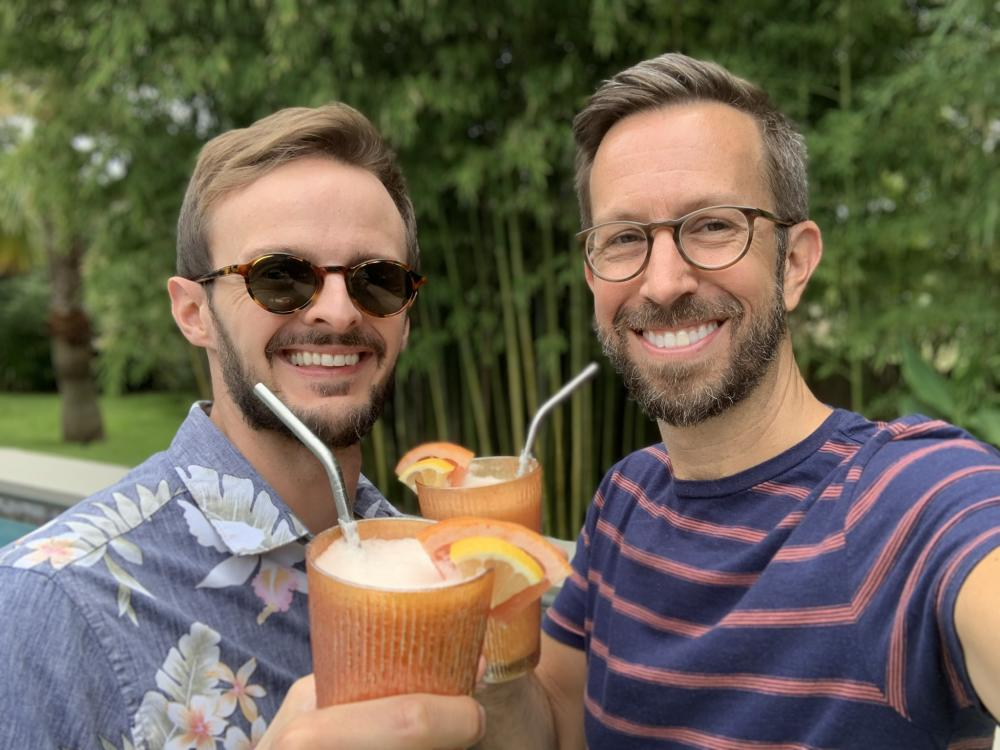 Lick owners Anthony Sobotick and Chad Palmatier with glasses of Creamy Grapefruit Freeze