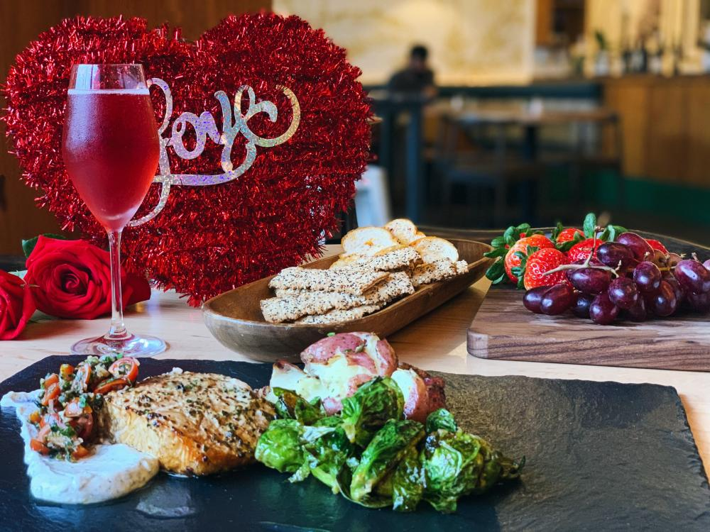 34th Street Cafes Valentines Day Dinner with sparkling rose wine