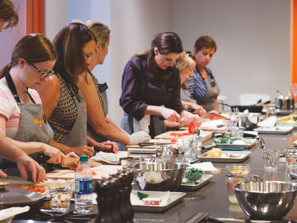 Women In A Cooking Class At Whisk In Bellevue, WA