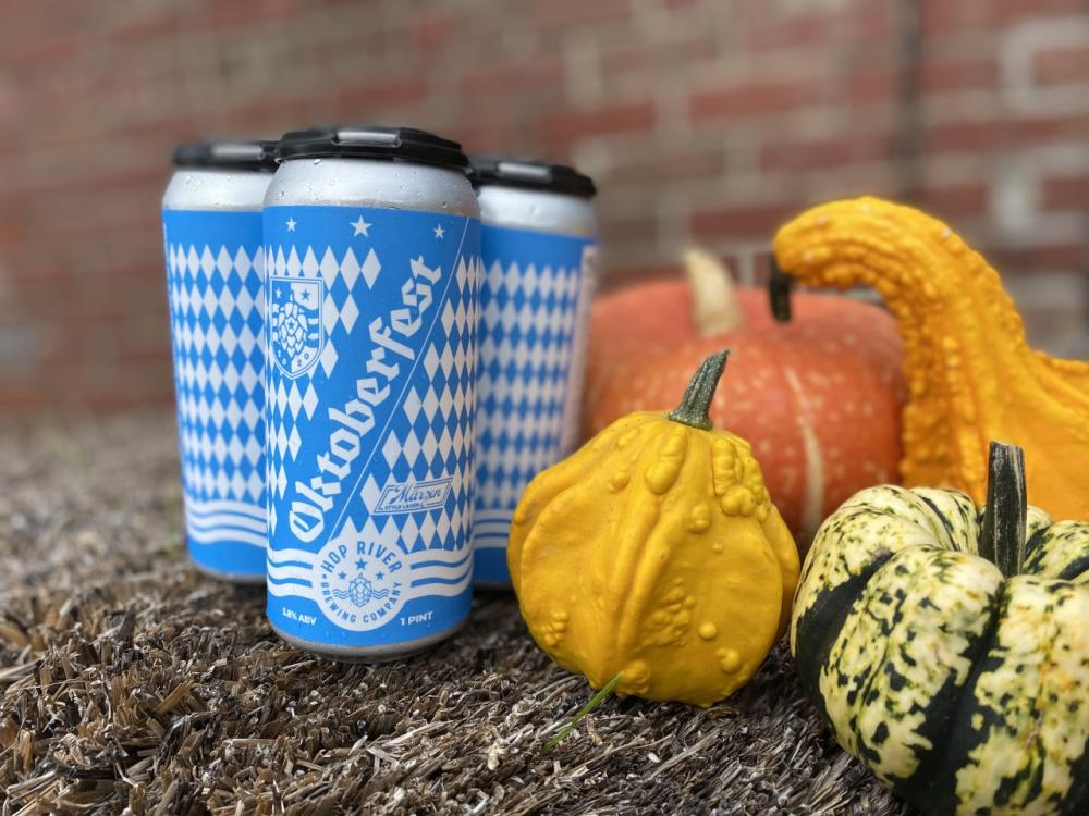 Cans of Oktoberfest at Hop River Brewing Company in Fort Wayne
