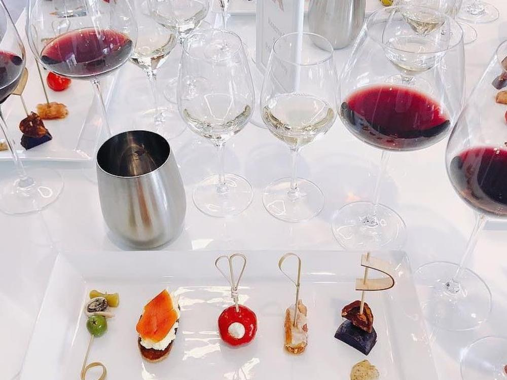 Wine on table with food