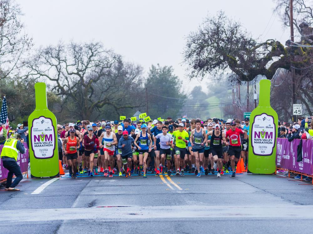 Runners at the Starting Line of Napa Valley Marathon