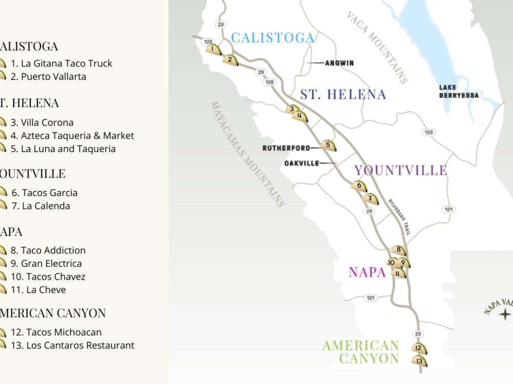 Map of the Napa Valley Taco Trail with plotted destinations
