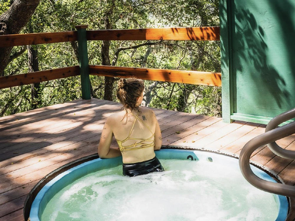 Woman In A Sycamore Mineral Springs Hot Tub in San Luis Obispo