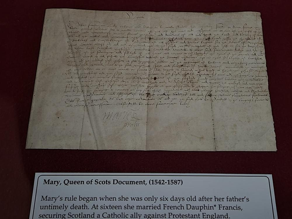 Original Document from Mary, Queen of Scots and James I of England on Display at the Museum of World Treasures