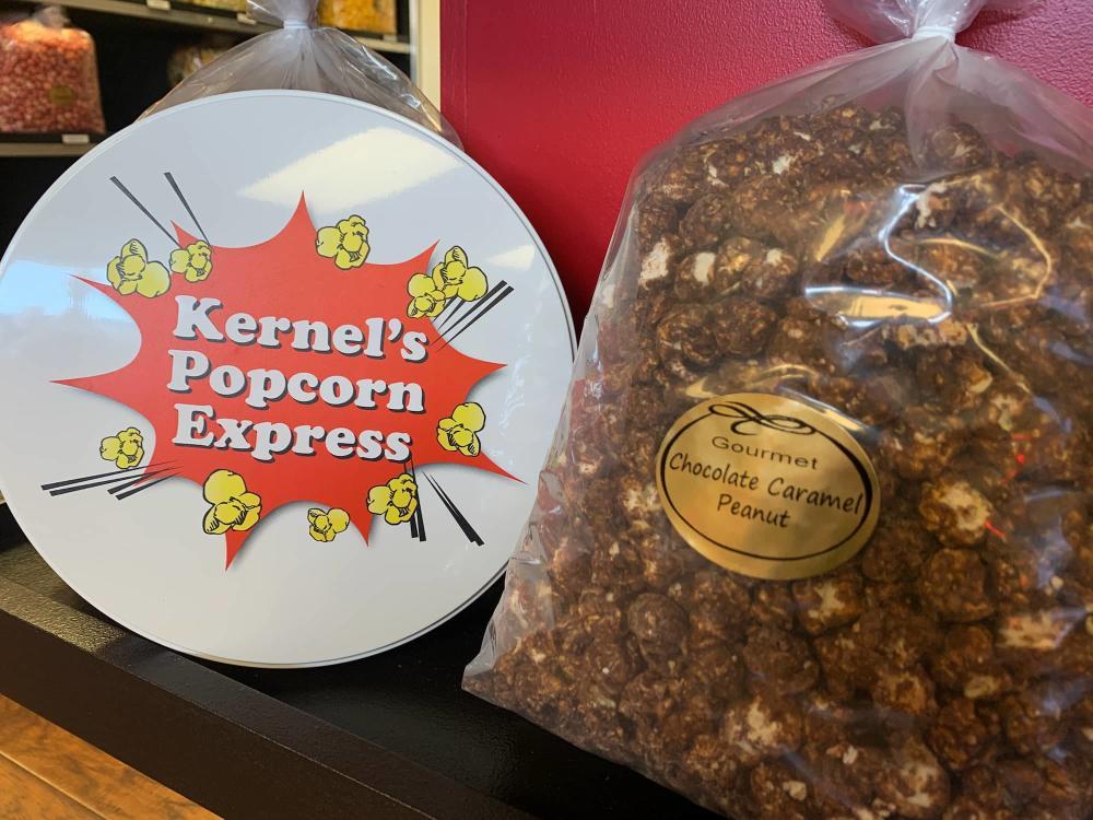 Chocolate Caramel Peanut Popcorn from Kernel's Popcorn Express