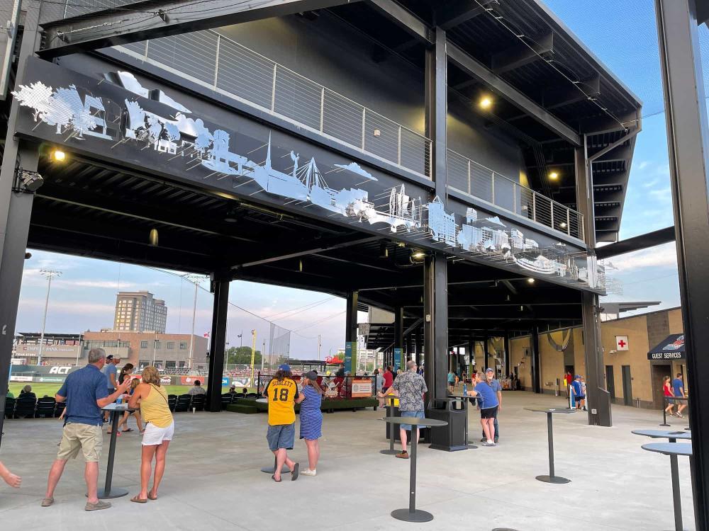 Fans Enjoy Concessions at Riverfront Stadium