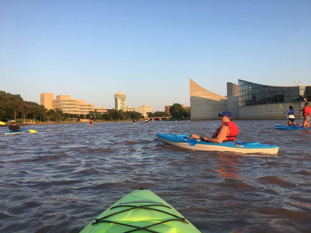 Floating the Arkansas River on a Kayak Near Exploration Place