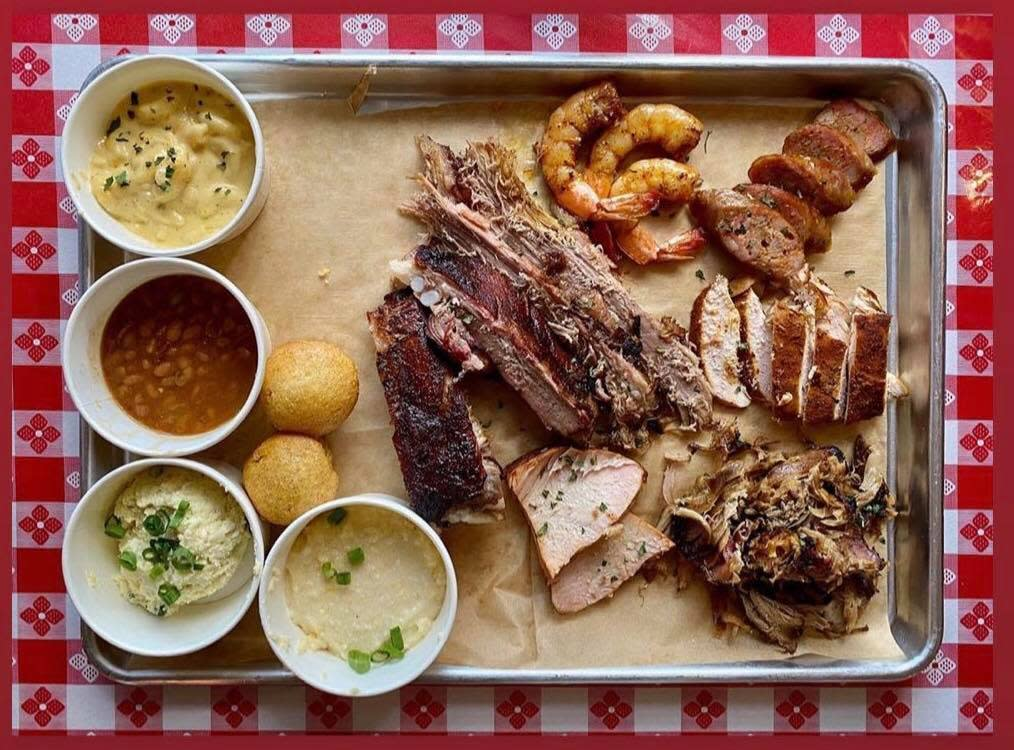 BBQ tray of offerings from Tchoup's in Lafayette, LA.