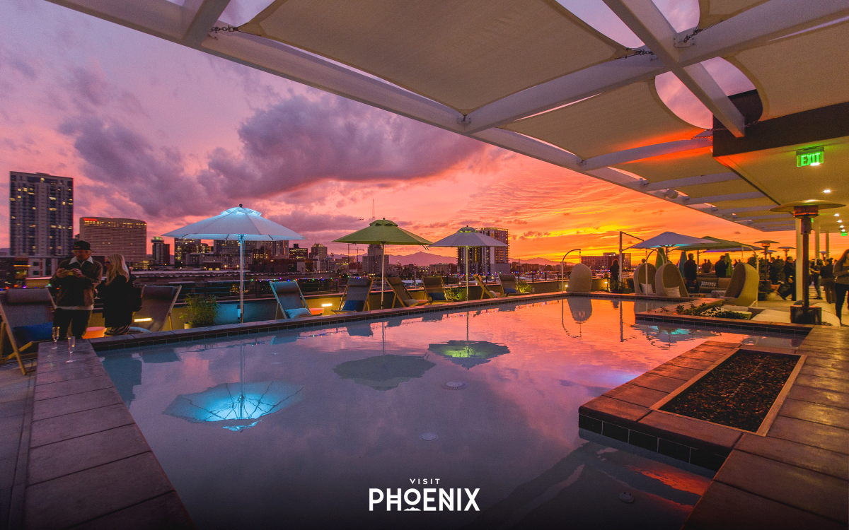 The rooftop of the Cambria Hotel Phoenix Downtown at Sunset