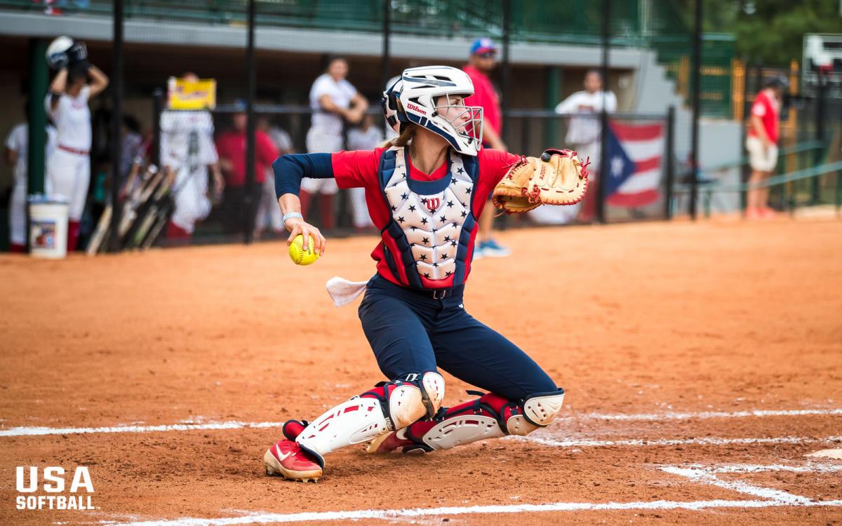 USA Softball Catcher On Field