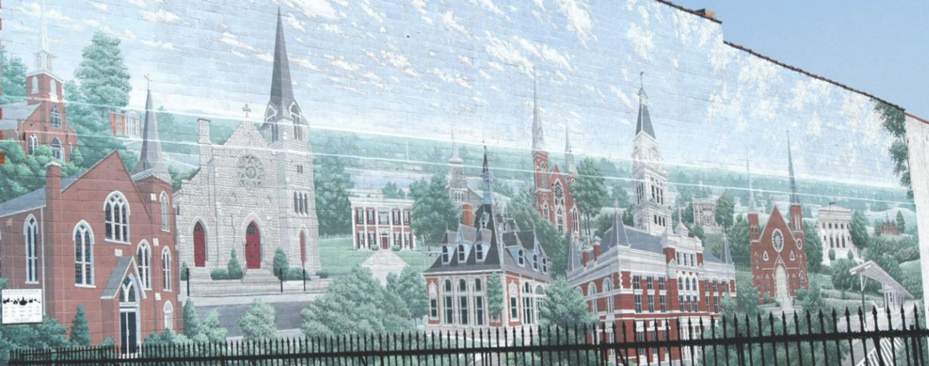 mural of Clarksville historic buildings
