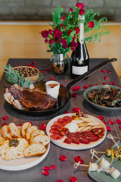 A take home Valentine's Day feast from La Bodega at Curate in Asheville, NC