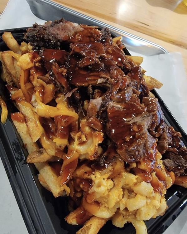 French fries with barbecue sauce.