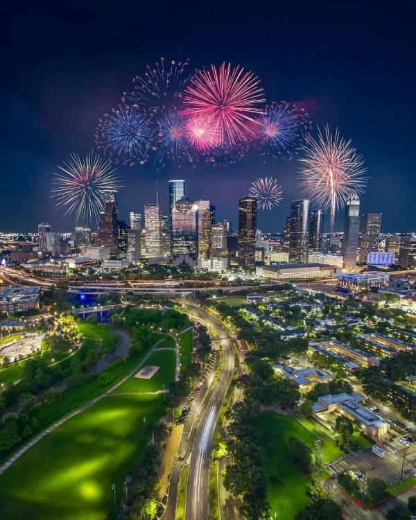 Fireworks light up the night sky over downtown Houston