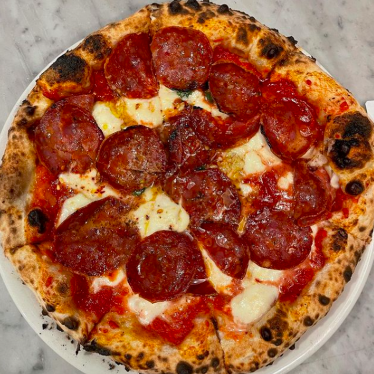 Pepperoni pizza from Nomad Pizza in Princeton, NJ.