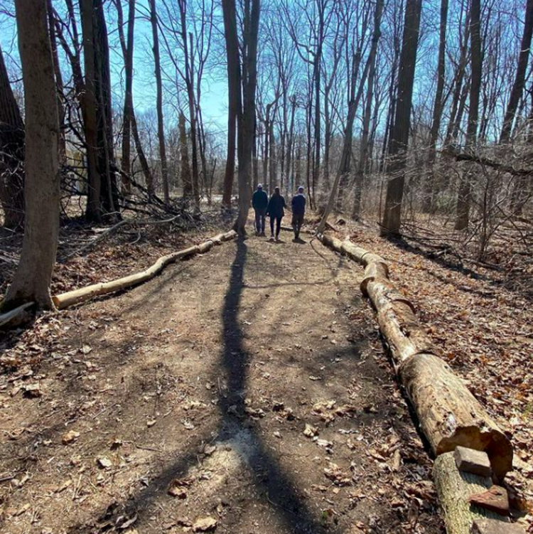 A group of people walking a path in the D&R greenway trust site near Princeton, NJ.