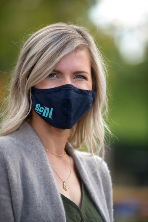 Woman wearing SoIN Mask