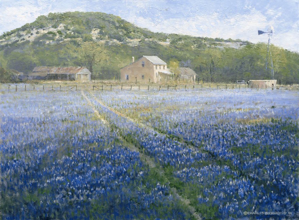 Print by Charles Beckendorf of a Hill Country homestead with bluebonnets