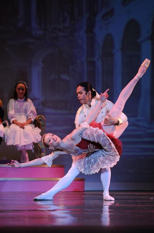 This is a picture of dancers performing in the Nutcracker.